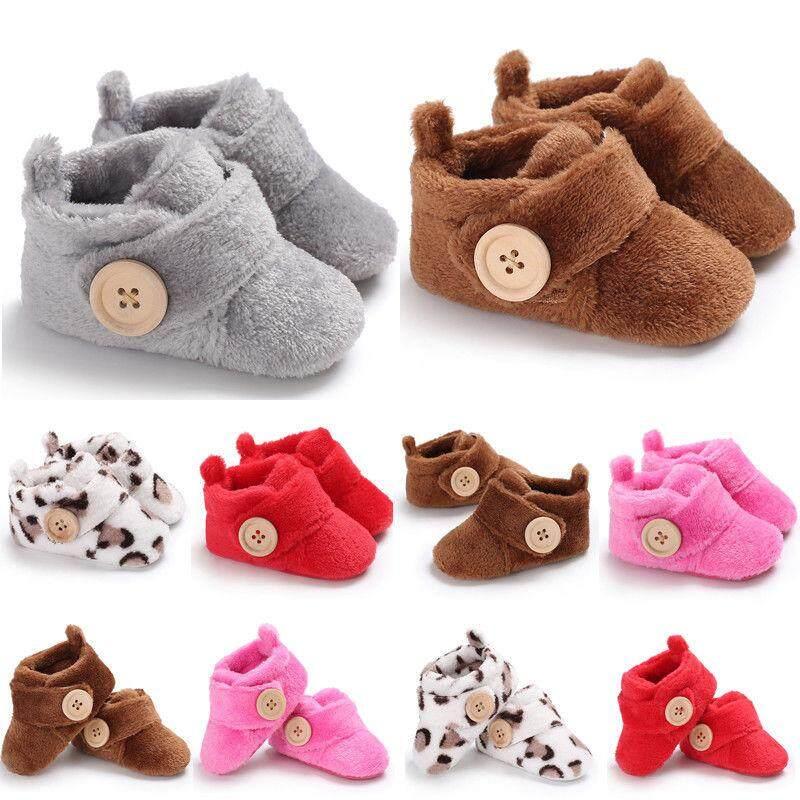 f85f94ee9505f Baby Kids Boys Girls Winter Warm Fleece Snow Boots Booties Crib Shoes 0-18  Months