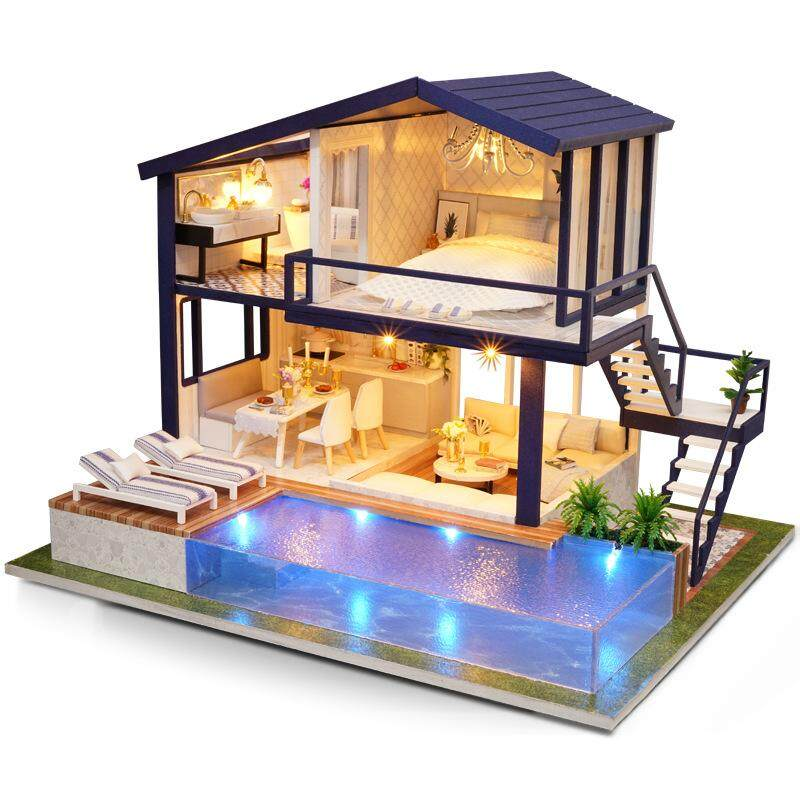Kids Baby Diy Time Apartment With Furniture Light Gift Doll House Toy