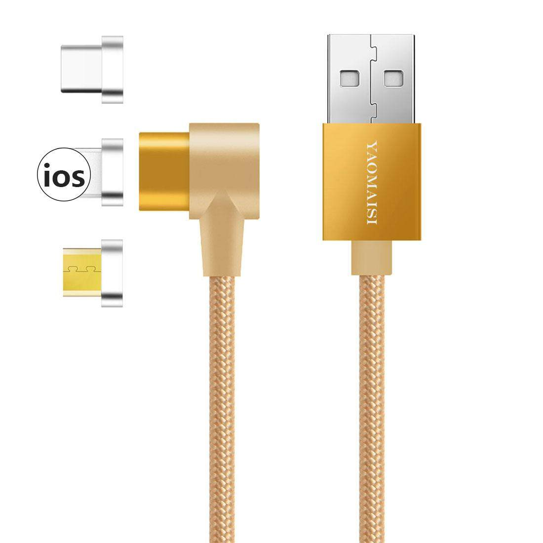 3 in 1 Magnetic Charging Cable Nylon Magnet Fast Charger for IOS Android Micro USB Type