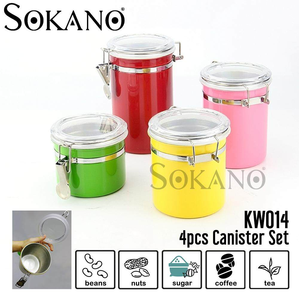 (RAYA 2019) SOKANO KW014 Colourful Canister set of 4 Steel Airtight Sealed Coffee Flour Sugar Container Can Stainless Steels Storage Jars