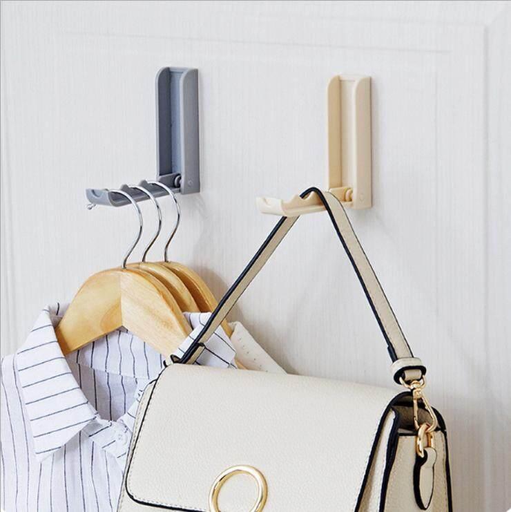 Plastic Folding Self Adhesive Wall Over The Door Hook Hanger Rack For Clothes Bag Towel (gray) - Intl By Minxin.