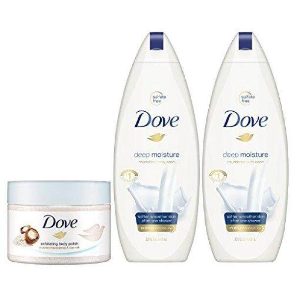 Buy (USA)Dove Body Wash and Body Polish, Exfoliate and Deep Moisture 3 count Singapore