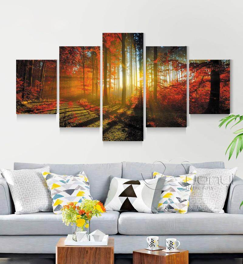 5 Panel Tree Nature Landscape Wall Art Canvas Oil Painting Forest Landscape Wall Pictures For Living Room Unframed