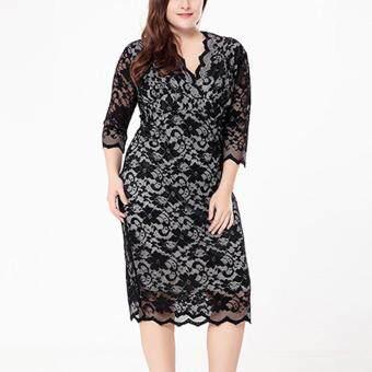 Pencari Harga 5XL 6XL Woman Plus Size Dress Office Ladies Fashion Elegant Dresses 3/4 Sleeve Fashion OL Clothing Big Size V-neck Lace Vestidos terbaik murah ...