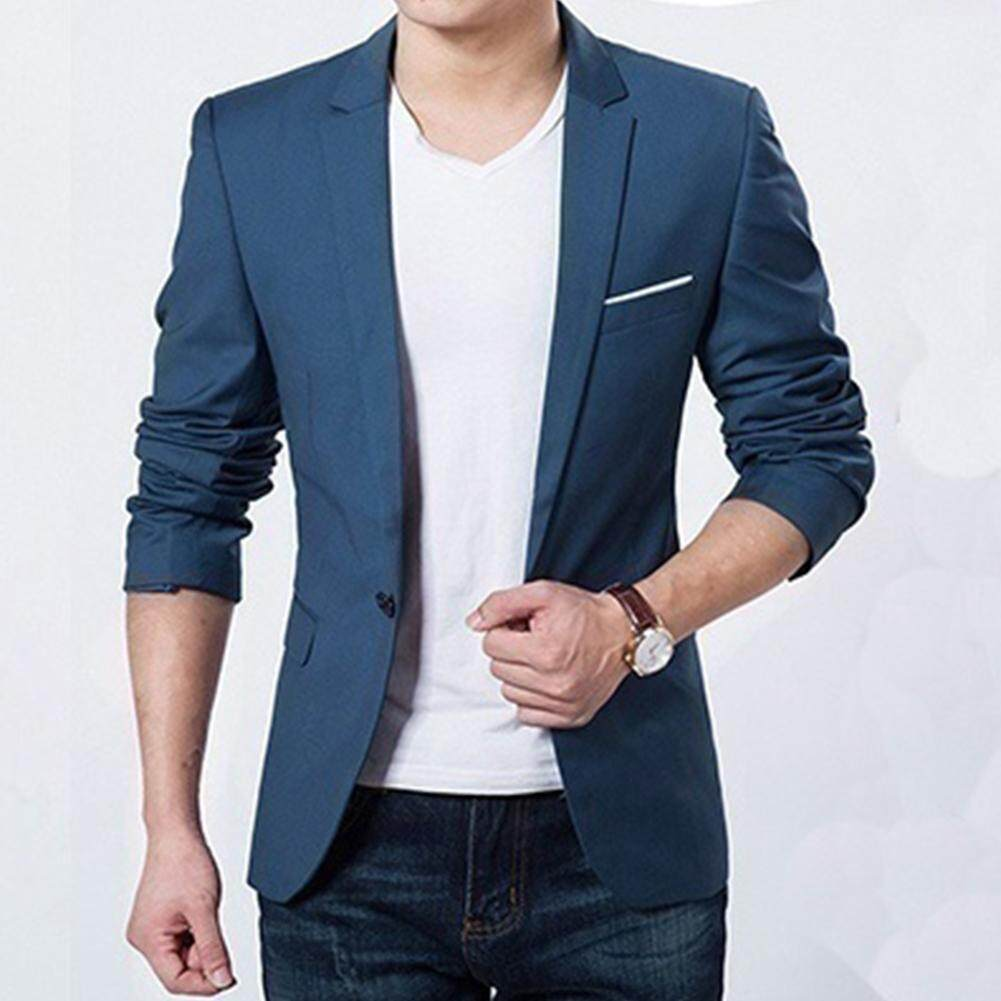 Men Solid Color Business Suit Interview Banquet Wedding Suit Casual Slim Blazer For Evening Party By Makiyo.