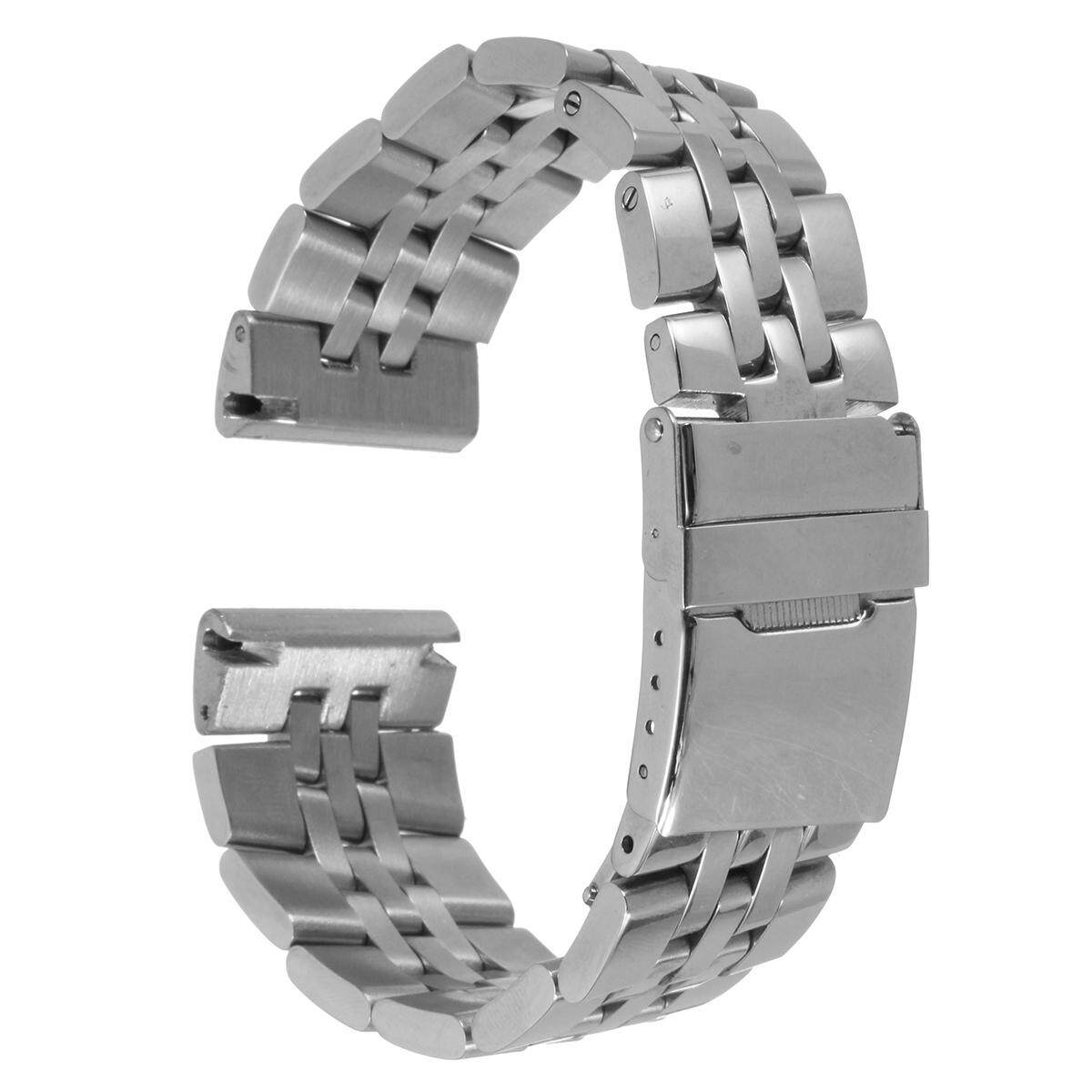 24MM Silver Watch Band Strap Polished Stainess Steel Bracelet For Breitling
