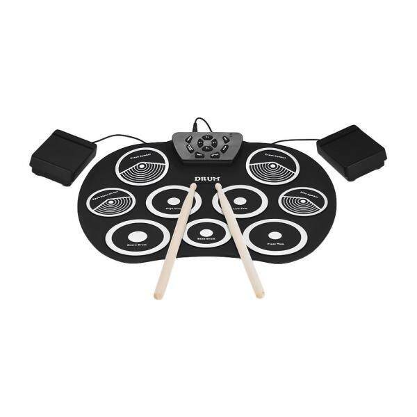 Portable Electronic Drum Set Roll Up Drum Kit 9 Silicon Pads USB Powered with Foot Pedals Drumsticks USB Cable for Students Kids