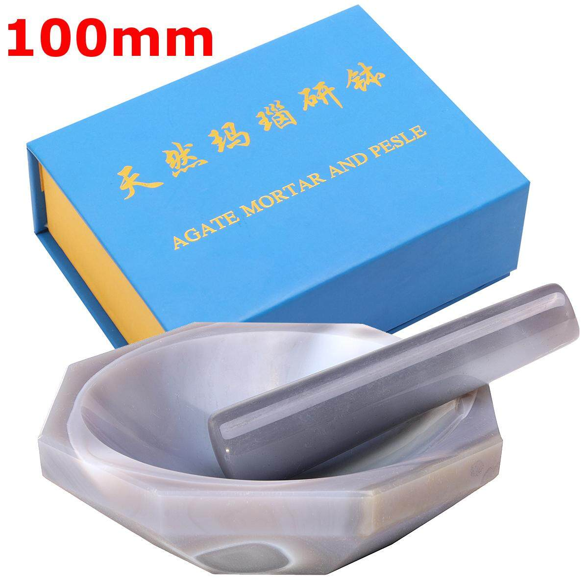 100mm Natural Agate Mortar And Pestle Grind The Solid Make The Solids Mixing Set By Moonbeam.