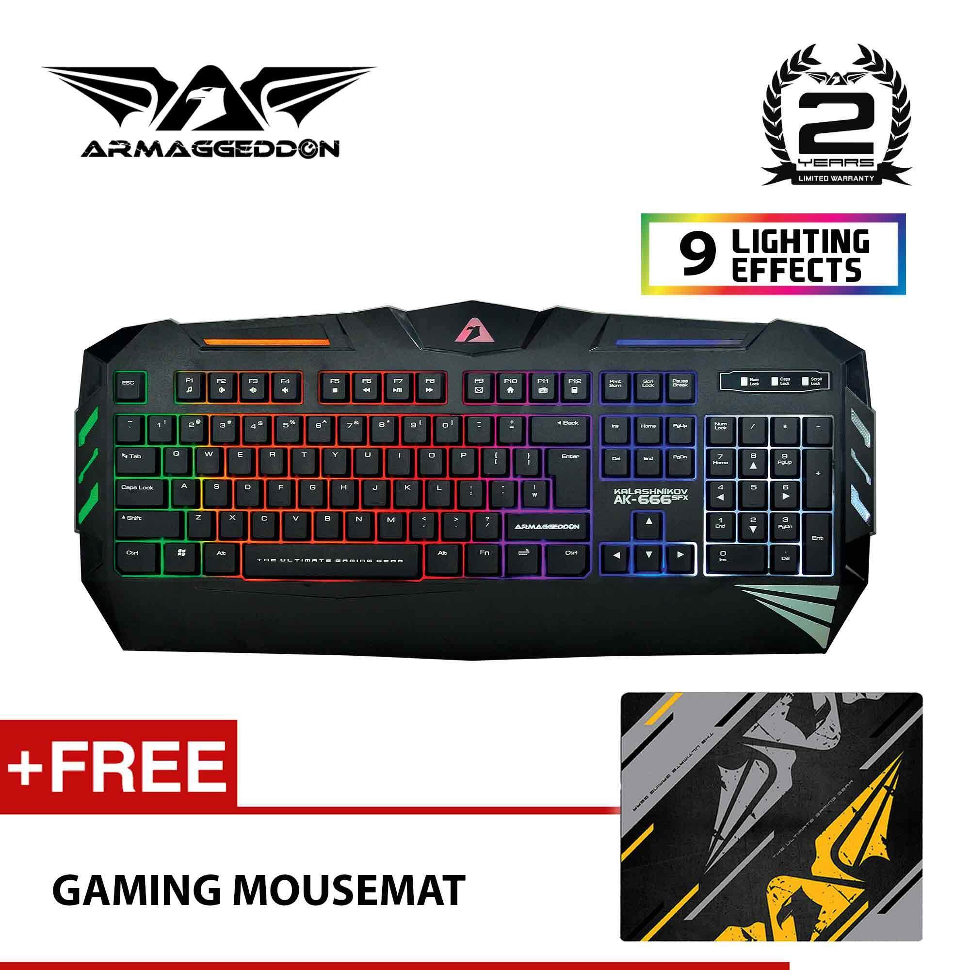 AK-666sfx Spill Proof Gaming Keyboard with 9 Lighting Effect Free Mousemat by Armaggeddon Malaysia