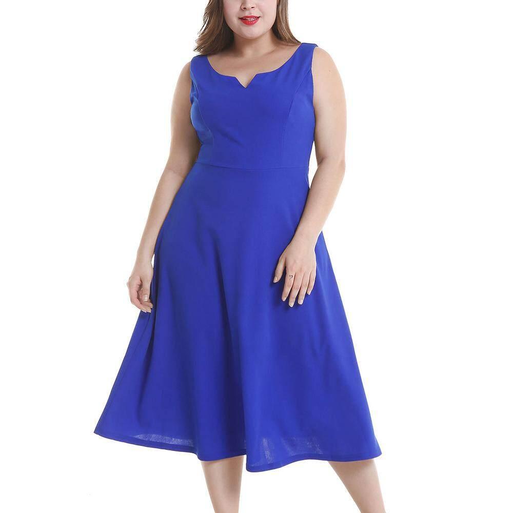 Plus Size Woman Simple Dress Large Big Size Female Vintage Office Ladies OL Clothing Sleeveless Retro