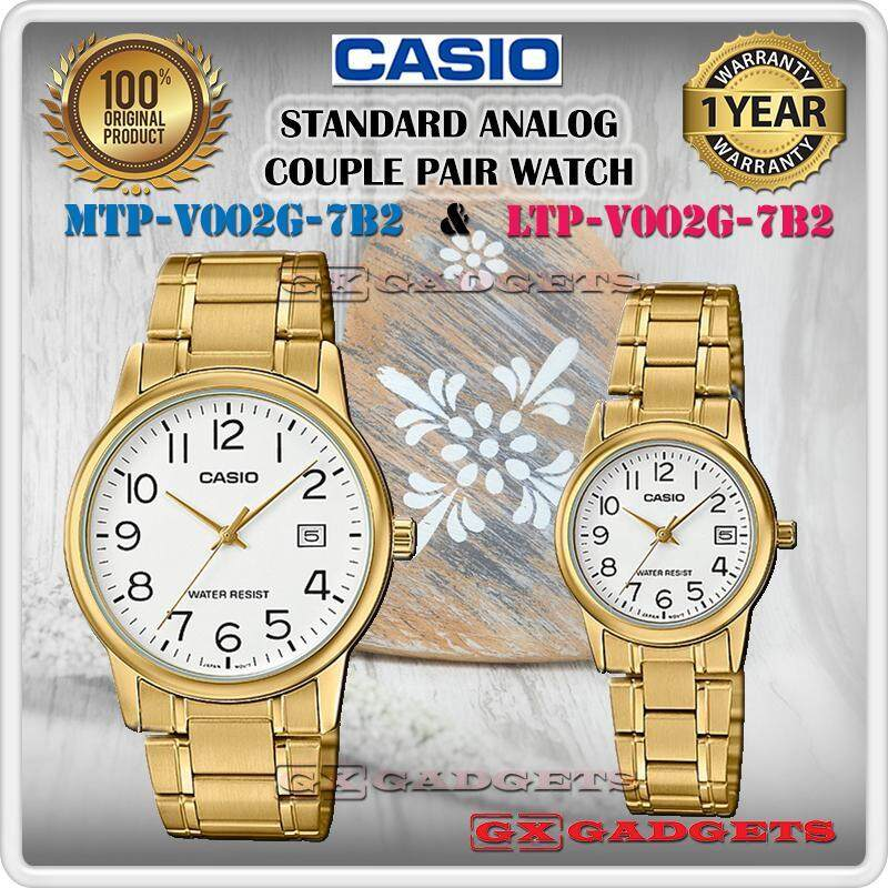 CASIO MTP-V002G-7B2 + LTP-V002G-7B2 STANDARD Analog Couple Pair Watch Date Gold Case Stainless Steel Band Water Resistant MTP-V002 LTP-V002 V002 Series Malaysia