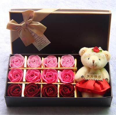 12 pcs Rose Flower Soap Gift Box with Mini Doll Handmade Valentine Day Gift New Year Birthday Mother day Gift Present for Girl Friend