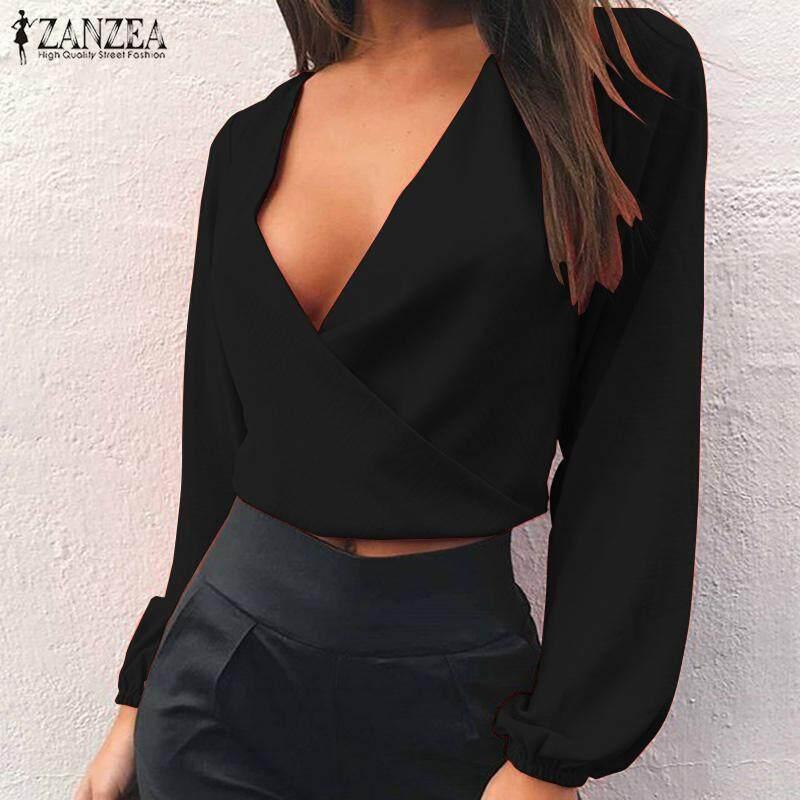 Zanzea Wanita Lengan Panjang Rendah Kemeja Potong Atasan Pesta Klub Atasan  Perut Panggung Terbuka Blus- fe5a8d7236