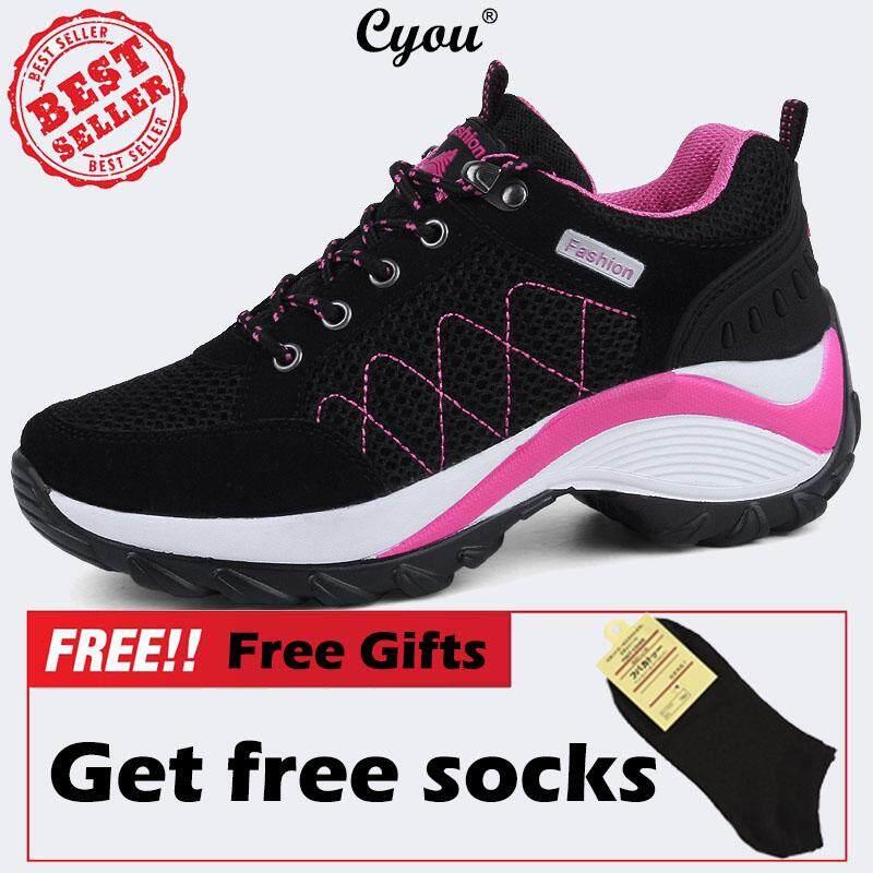 Cyou Big Size 35-42 Women Height Increase Hiking Shoes Outdoor Climbing  Sneakers Kasut Hiking b2a60b9baf6