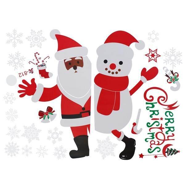 Dapat Dilepas Selamat Natal Jendela Warna-warni Stiker Menempel Manusia Salju Santa Klaus Pintu Kaca