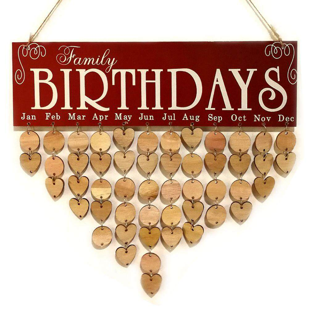 Wooden Birthday Calendar Board DIY Birthday Sign Special Dates Planner Board for Home Hanging Decor Gift Family birthdays - Red Free Shipping
