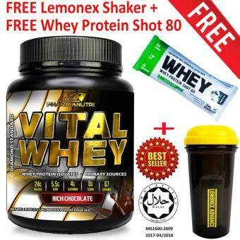 Whey Protein Halal – Vital Whey 1kg/2.2lbs, Whey Isolate With 24g Protein, 33 Servings - Fast Muscle Recovery (Chocolate Milkshake) + FREE Official Lemonex Shaker + FREE Whey Protein Shot 80 Sample (Random Flavor) by One Shot Nutrition