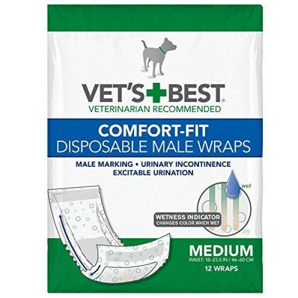 Vets Best Disposable Male Dog Diapers With Wetness Indicator, 12 Count - intl Philippines