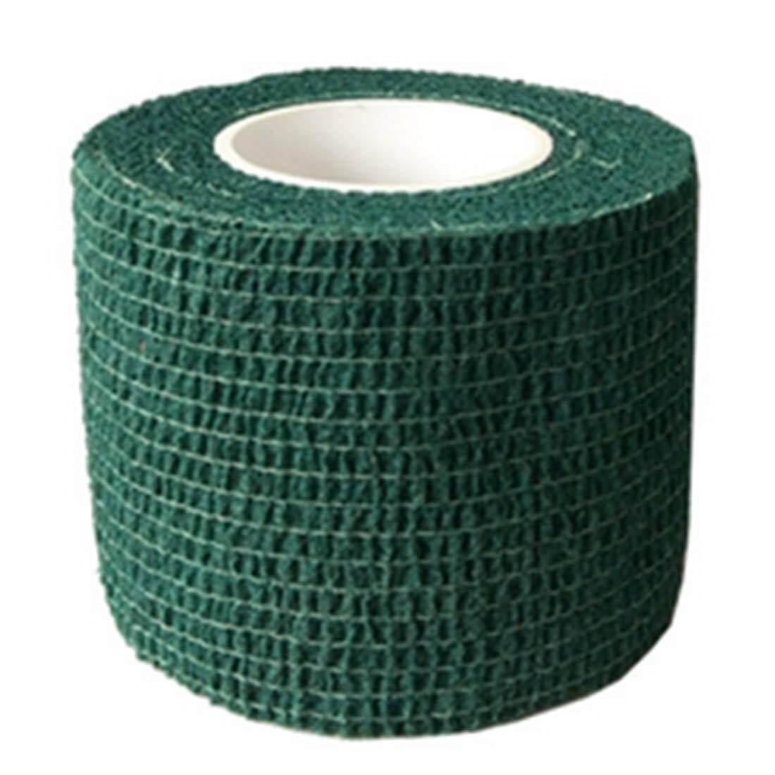 360 Wish ผ้าไม่ทอกีฬาแถบพันแบบติดแน่นเทปการแพทย์ยืดหยุ่นผ้าพันแผลชนิดกาว 7.5 เซนติเมตร * 4.5 เมตร - สีเขียวเข้ม By Wish360.