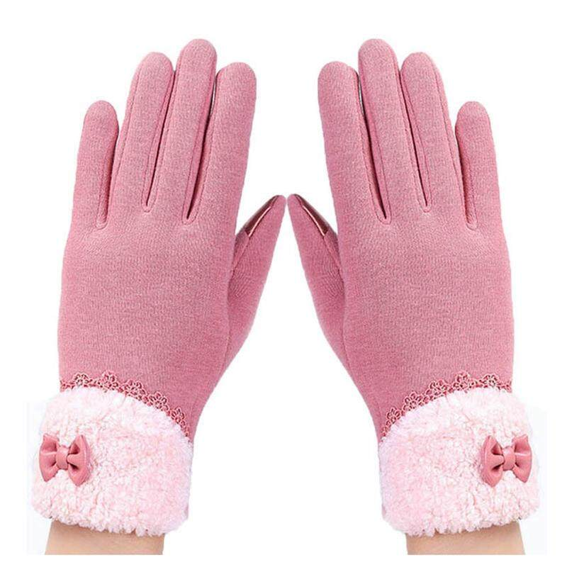 fbac5a4bc New lady winter glove bow lace elegant warm fashion glove female touch  screen glove Leather Pink