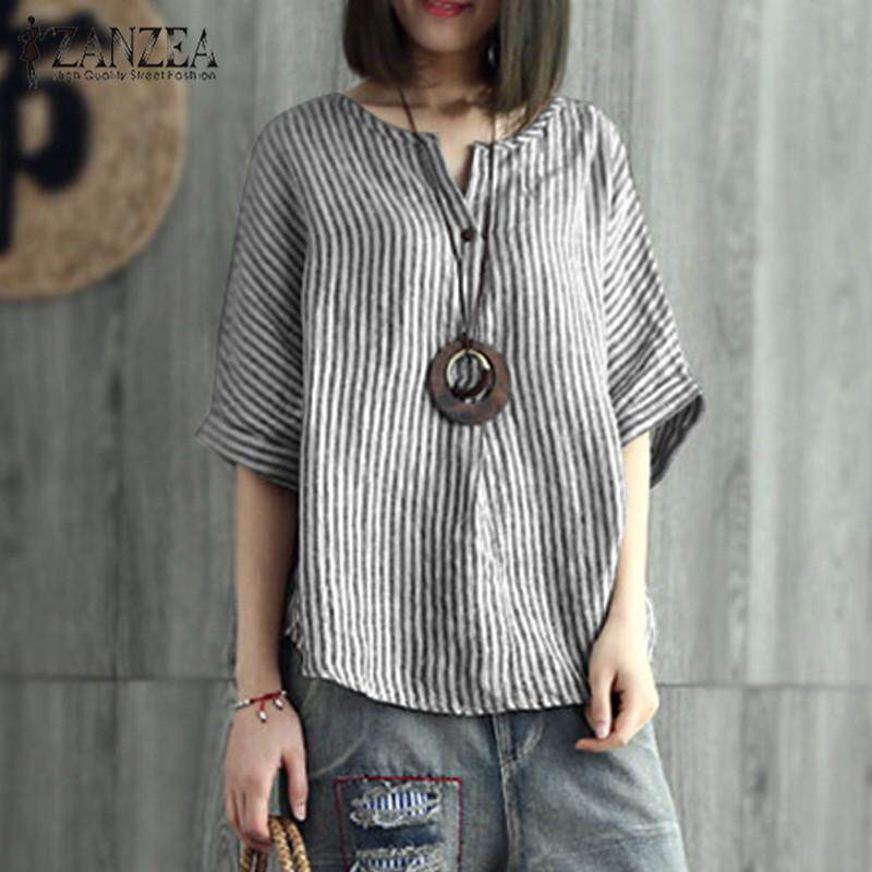 a88096adc5967 ZANZEA Women Plus Size Stripe Short Sleeve Basic Button Up Loose Tee T  Shirt Top Blouse