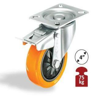 MR CASTOR HEAVY DUTY PU CASTOR WHEEL - SWIVEL BRAKE (1 YEAR WARRANTY)