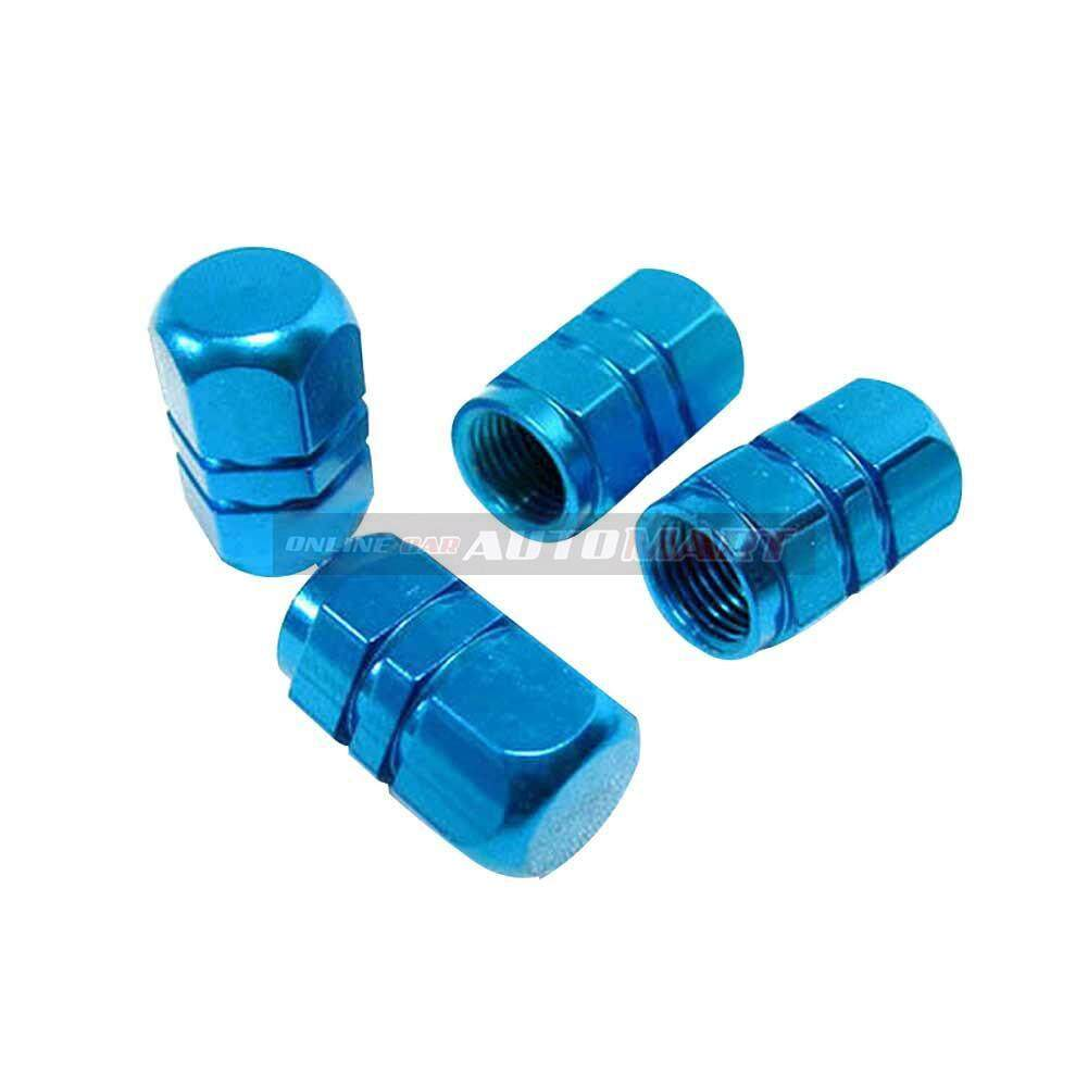 4pcs Aluminium Alloy Tyre Valve Tyre Cap Valve Stem Air Caps Airtight Cove BLUE