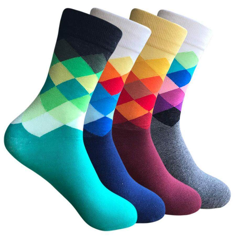 dd6804c01558 Men's Dress Socks Funny Colorful Argyle Patterned High Fun Sock,Combed  Cotton Colorful Van Gogh