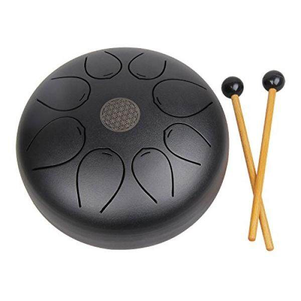 Mugig Steel Tongue Drum Hang Drum Tank Drum,Percussion Instrument 8 inch Pentatonic Scale with Rubber Musical Mallet and Travel Bag Perfect for Personal Meditation, Yoga, Zen, Sound Healing - intl
