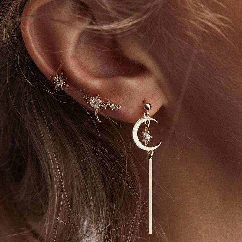 BZY 3 pcs/Set Gold Color Love Heart Star Moon Stud Earrings Exquisite Planet Stud