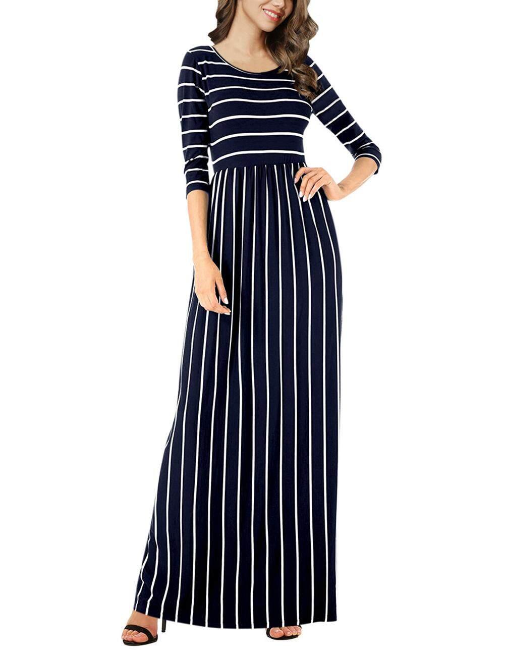 ee68fa6c0dbcf Veecome Women Round Neck Long Dress Elastic Waist Stripe Dresses For Summer