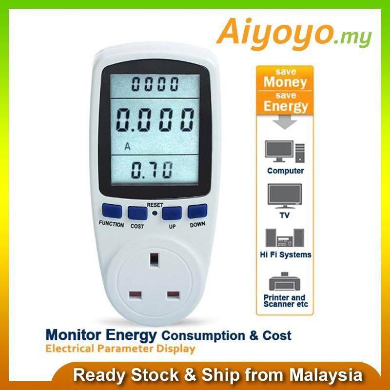 UK Plug Energy Power Meter Socket Watt Volt Voltage Electricity Monitor Analyzer Digital Measuring Outlet Kwh