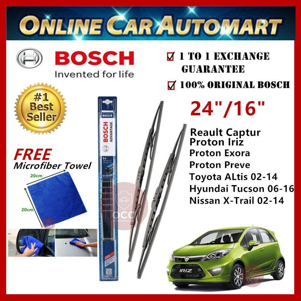 Proton Iriz - Bosch Advantage Wiper Blade (Set) - Compatible only with U-Hook Type - 24 inch & 16 inch