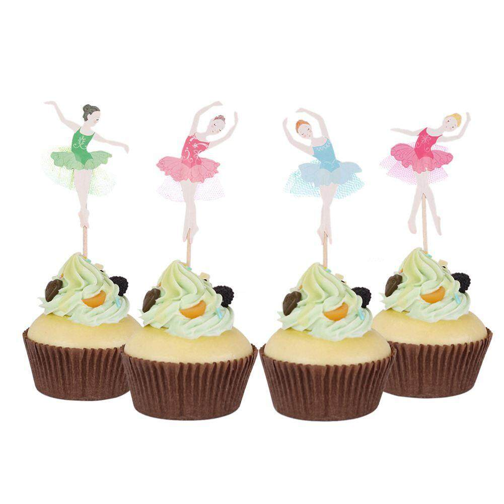 24 Pcs Ballerina Girl Cupcake Baby Birthday Party Decorations Cake Accessories Card