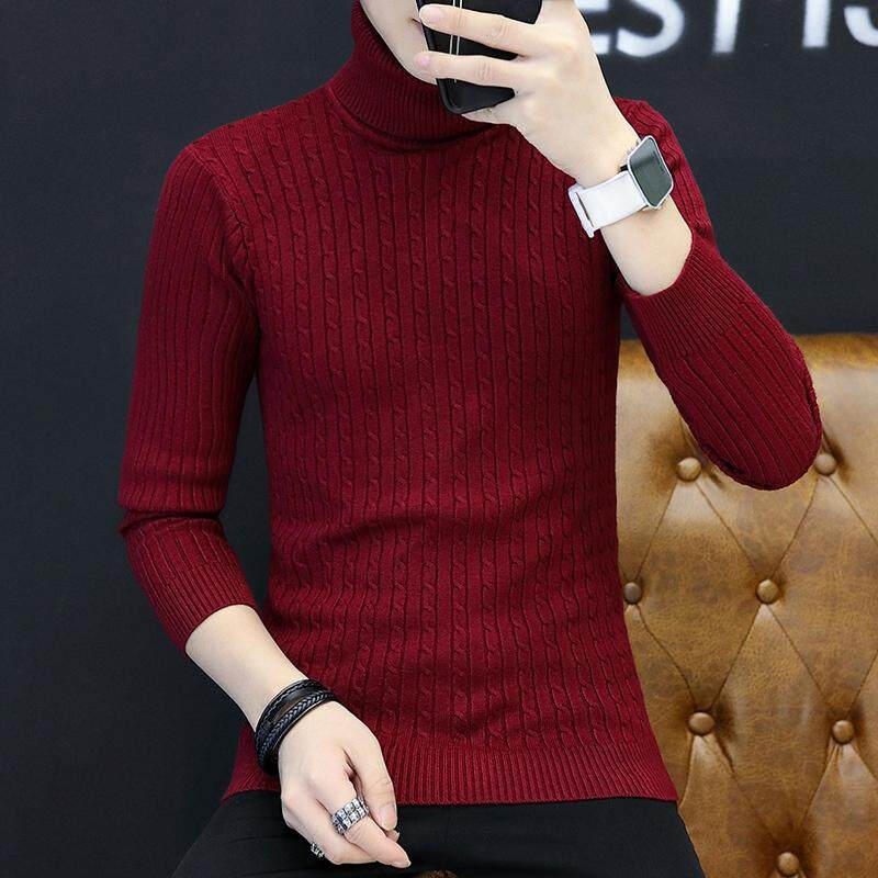 2018 New Autumn Men Brand Casual Sweater Turtleneck Striped Slim Fit Knitting  Mens Sweaters And Pullovers 062b09463