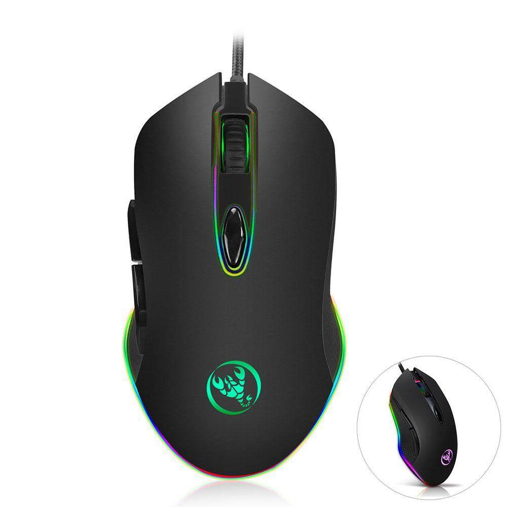 OXOQO HXSJ S500 Gaming Mouse Wired With RGB Led, 4800 DPI 6 Buttons Ergonomic Gaming Mouse For PC