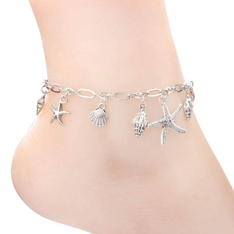 Bzy 1 Pcs Warna Perak Bintang Laut Gelang Kaki Wanita Pantai Kaki Perhiasan Pergelangan Kaki Barefoot