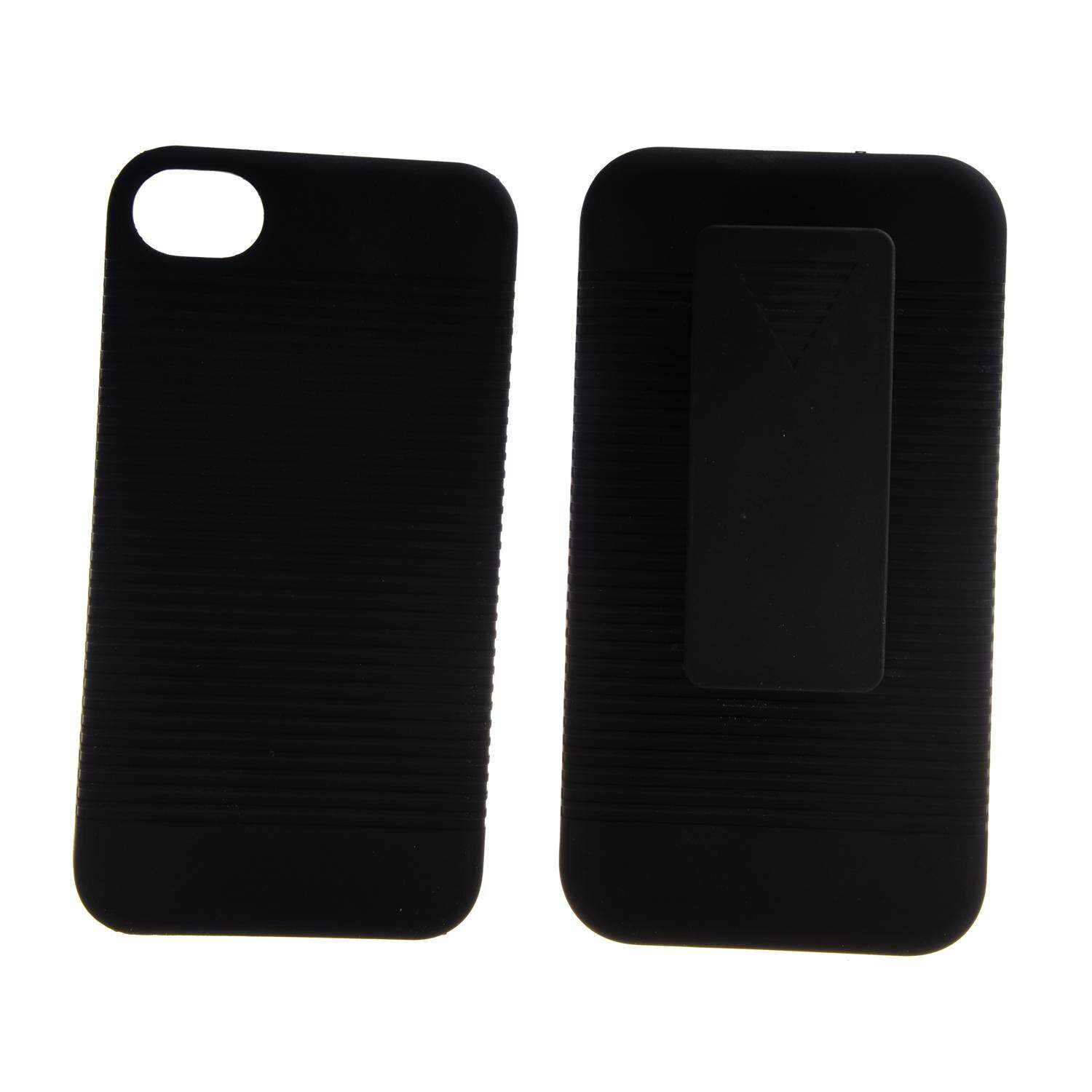 Pemium Black Holster Hard Case For Apple iPhone 4 4s With Locking Belt Swivel Clip