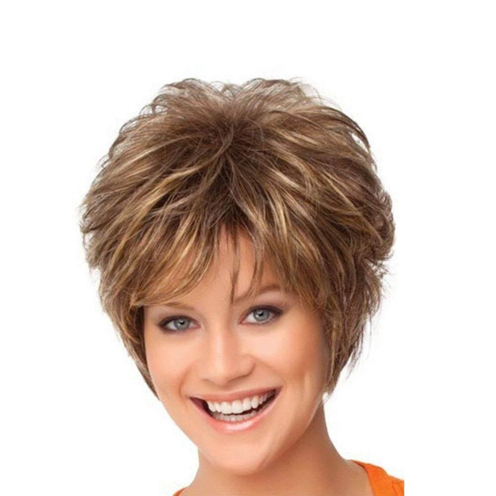Baru wig rambut pendek perempuan berbulu produsen pengeriting rambut mikro pasokan amazon naik rambut palsu bersih