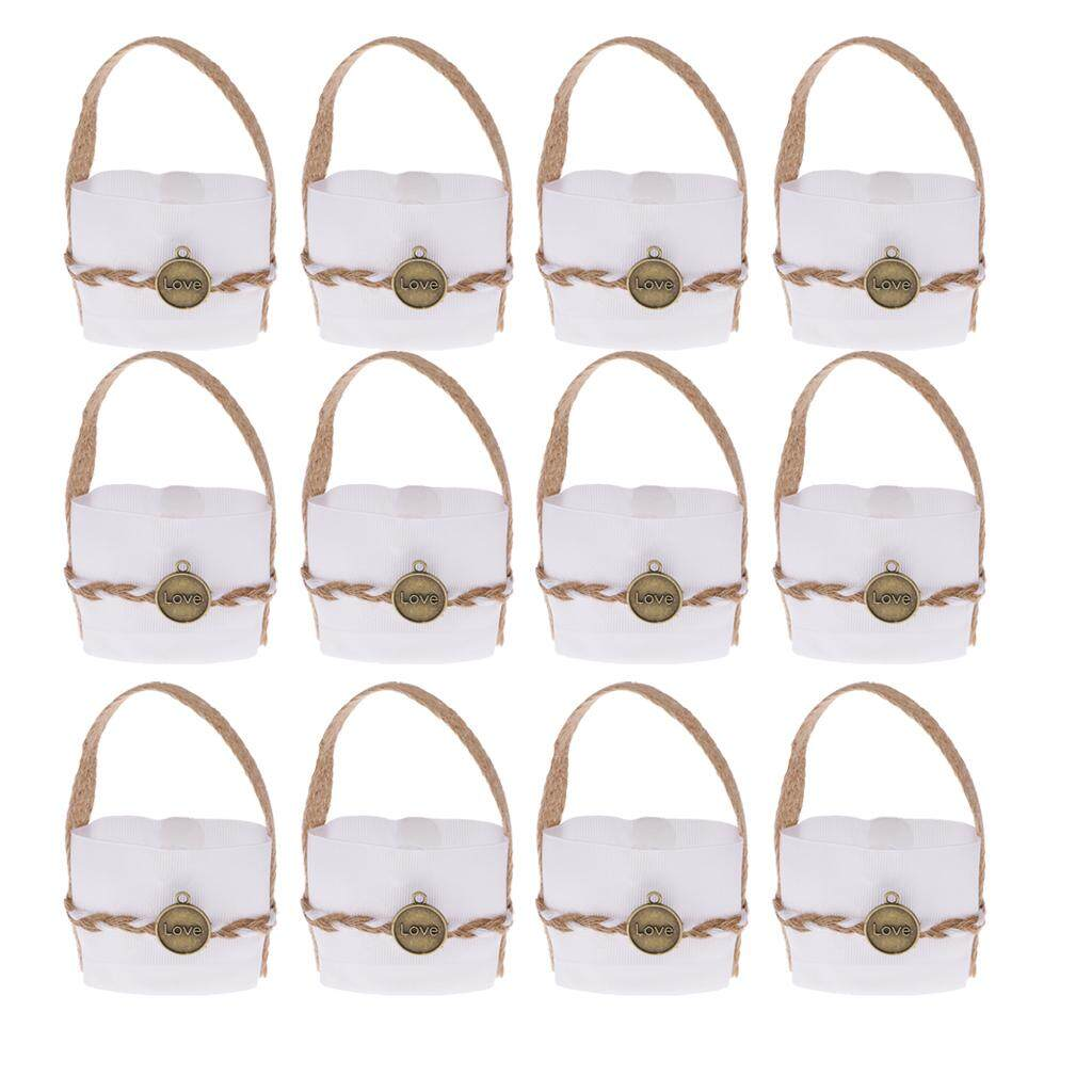 GuangquanStrade 12x Love Pendant Small Candy Gift Bags with Burlap Handle Wedding Xmas Favor