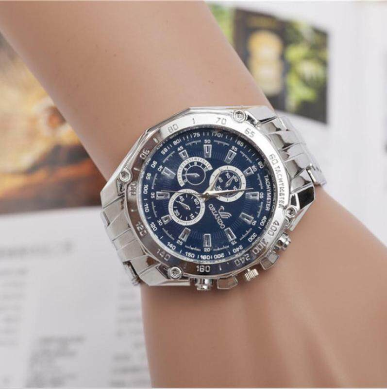 The new alloy steel band male female watch full drill side three decorative quartz watch(Blue dial) Malaysia