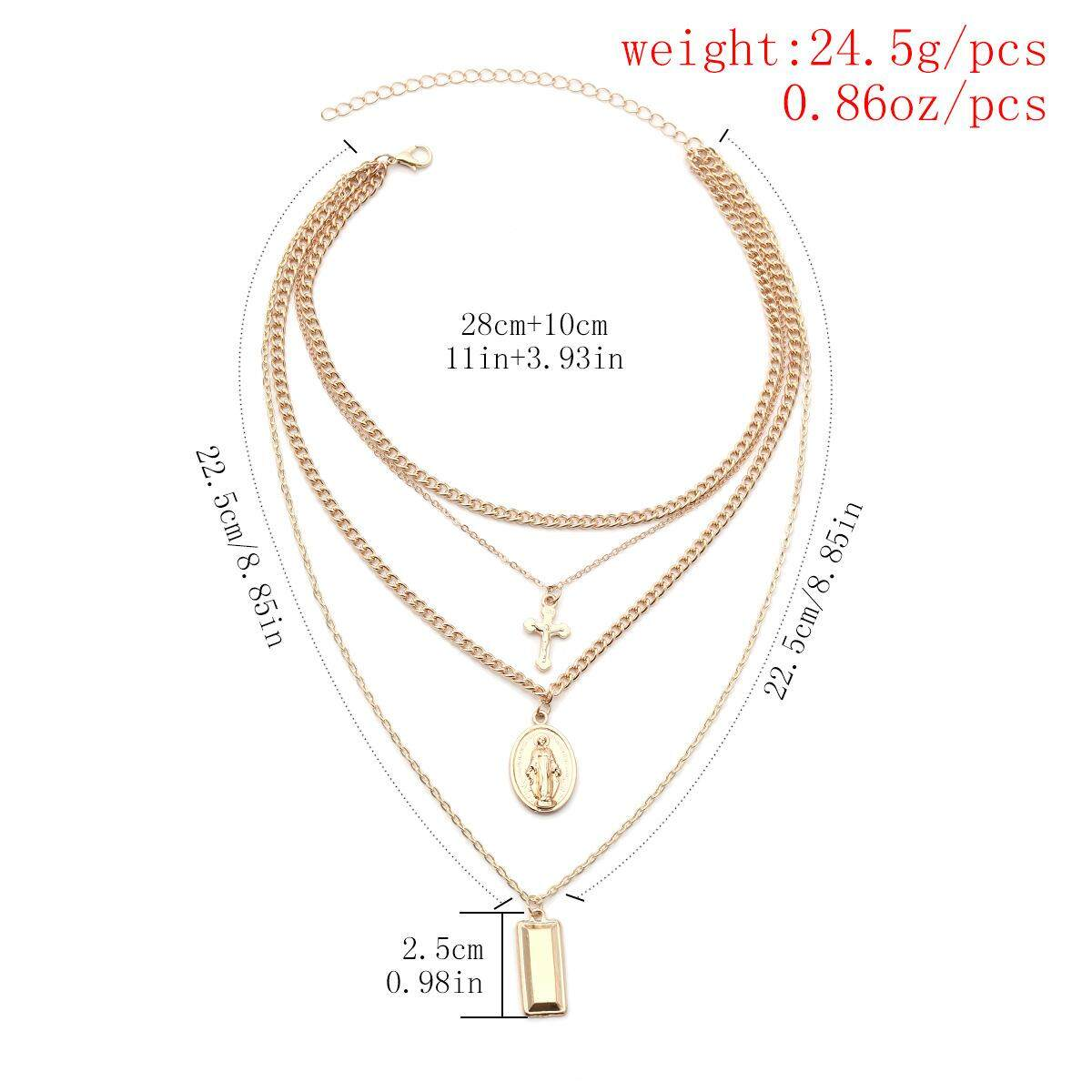 SKute Jewelry Silver Rose Gold Cross Design Tassel Necklace Multi Layer Pendant Chain Charm Summer ?