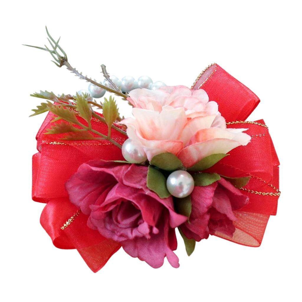 GuangquanStrade Bridal Wrist Corsage Bridesmaid Hand Flowers Wedding Party Prom Vintage Red
