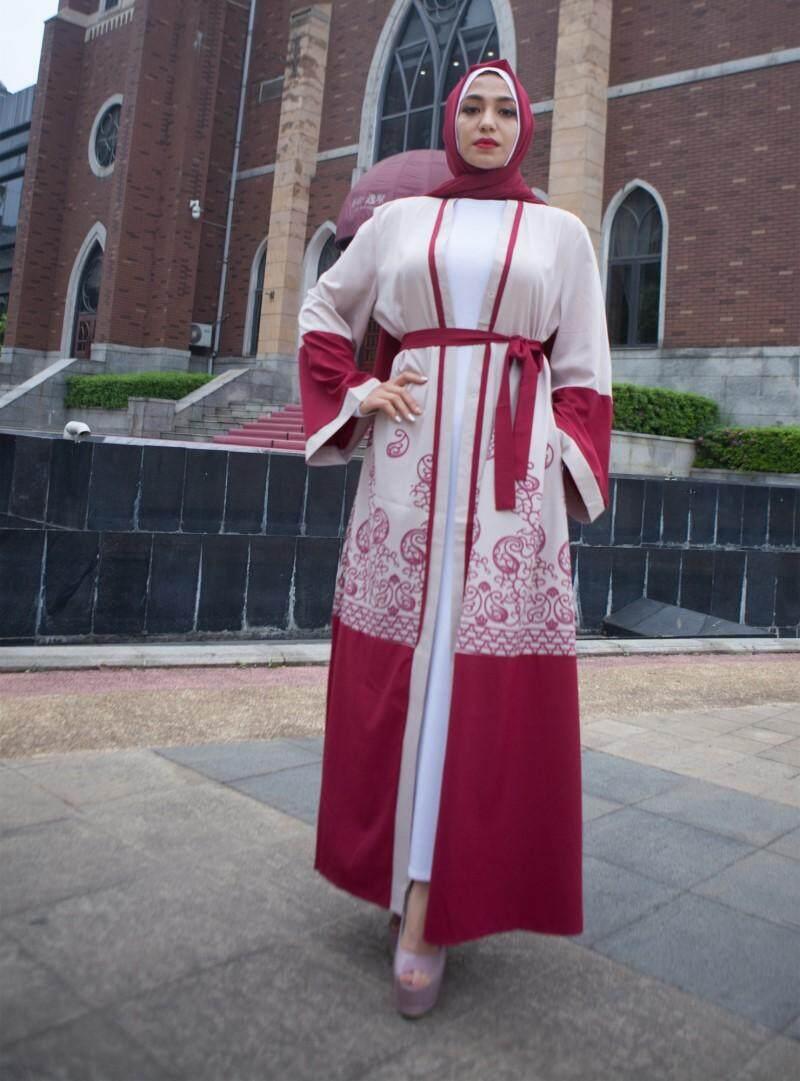 Fitur Fashion Red Print Muslim Dress Women Abaya Middle East Long Hitam Arab Gold Robe Gowns Ramadan Dubai Islamic