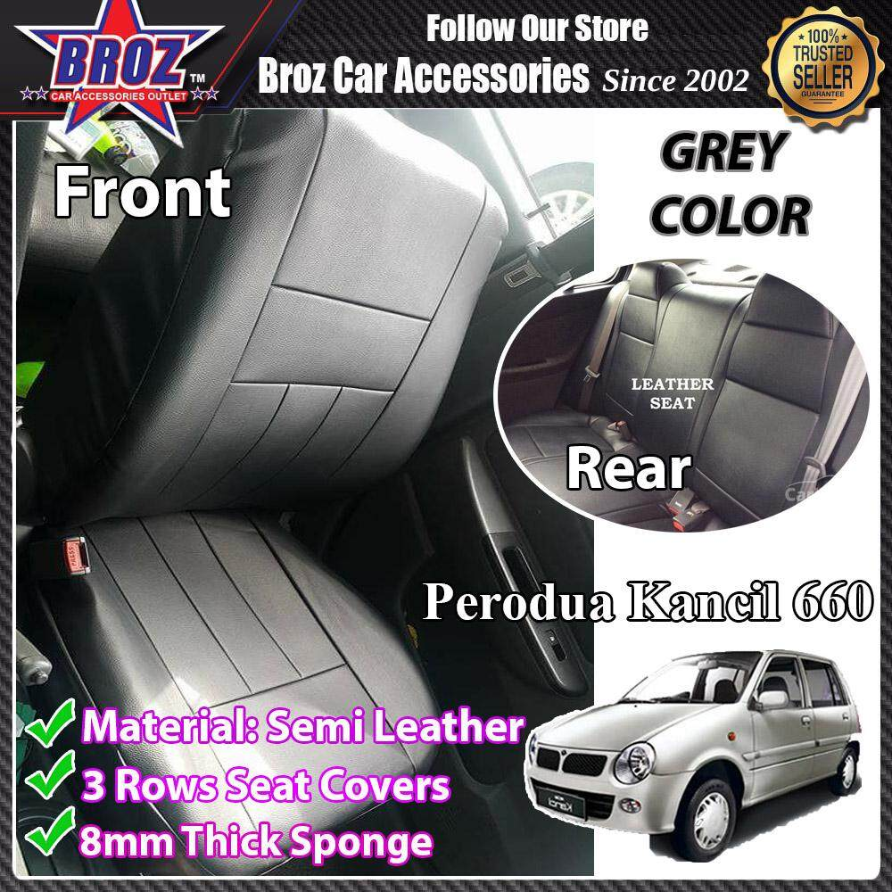 Broz Car Seat Cover Case Semi Leather Perodua Kancil 660 Front and Back - Grey