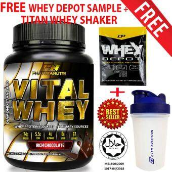Whey Protein Halal – Vital Whey 1kg/2.2lbs, Whey Isolate With 24g Protein, 33 Servings - Fast Muscle Recovery (Chocolate Milkshake) + FREE Official Titan Whey Protein Shaker/Blender/Mixer 400ml by Agym Nutrition + FREE Whey Depot Sample