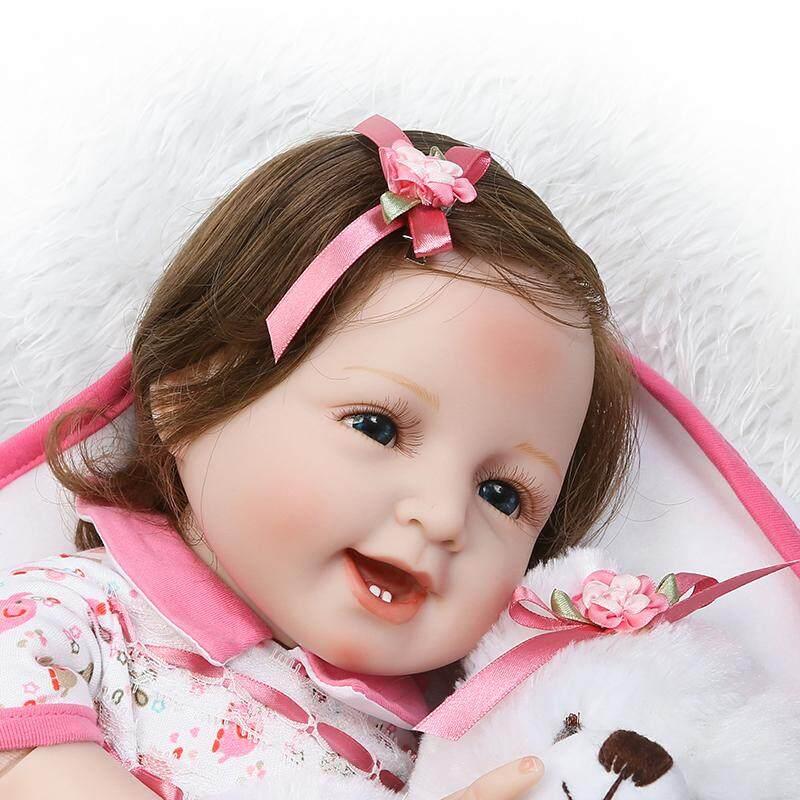 ... 22in Silikon Sebadan Penuh Vinyl Senyum Bayi Perempuan Boneka Bayi Baru  Lahir Manusia Hidup Hadiah ... 79111fd0b3
