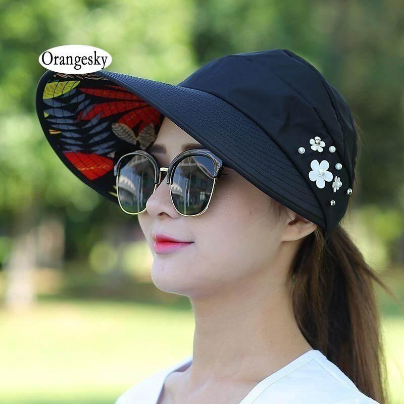 e46b44f7ce6481 Orangesky Women Lady Sunhat Beach Hat UV Protection Anti-UV Casual Visors  Foldable Cap For