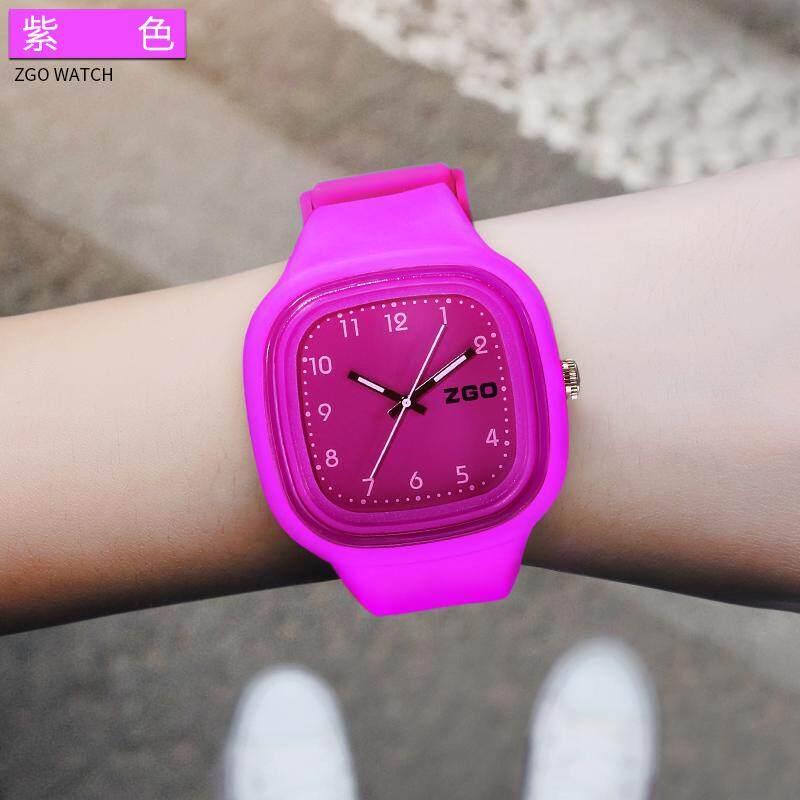 ZGO siswa SMP anak perempuan Bercahaya warna Makaron Jam Tangan Gaya Korea Bercahaya Jam tangan Pasangan