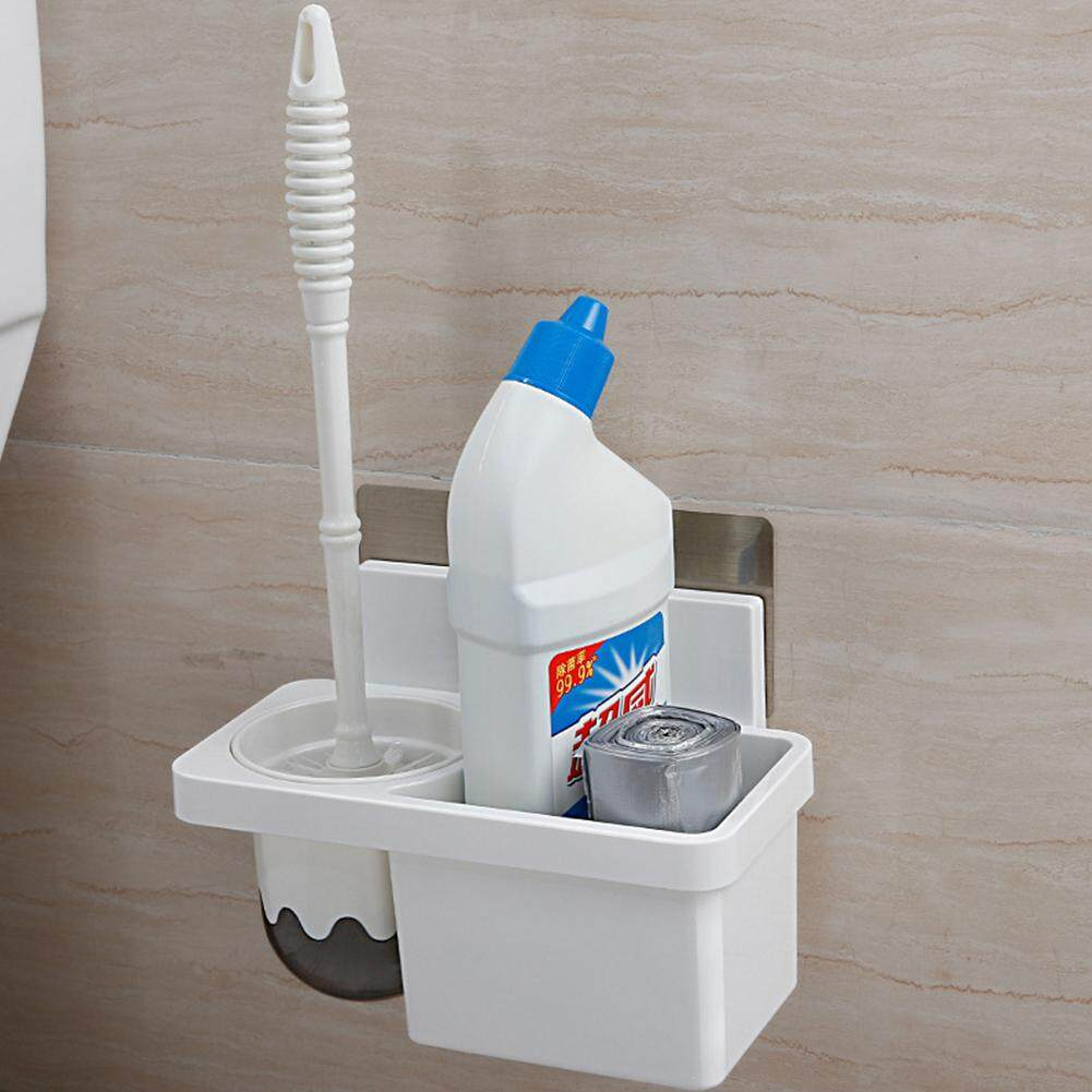 Stylish Adhesive Toilet Brush Combo Storage Rack Wall-mounted Toilet Storage Rack for Toilet Supplies